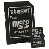 Card de memorie Kingston MicroSDHC, 16GB, Class 4 + Adaptor