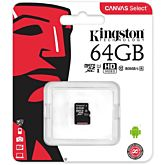 MicroSDXC Kingston, 64GB, Clasa 10 UHS-I, fara adaptor SD