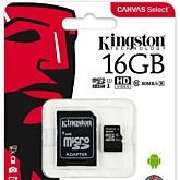 Card memorie Kingston MicroSDHC Canvas Select, UHS-I, 16GB, Class 10 + Adaptor