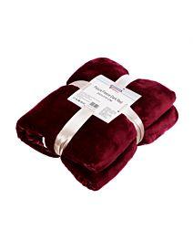 Patura fleece cu blanita Dark Red 200x220 cm Material : 100% Poliester