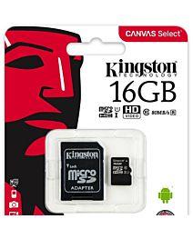 Card memorie Kingston MicroSDHC Canvas Select, UHS-I, 16GB, Class 10 + Adaptor