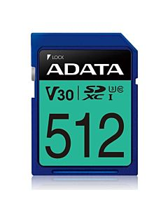ADATA 512GB Premier Pro SDXC UHS-I U3 Class 10 (V30S), R/W up to 100/80 MB/s