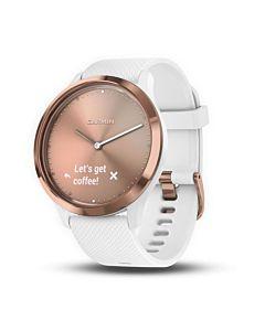 Smartwatch Garmin Vivomove HR Sport, Rose Gold, White Silicone Band