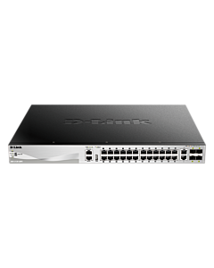 D-Link xStack 24X1000BASE-T, 2X10GBASE-T, 4XSFP+ Layer 3 Stackable PoE (370W)