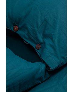 Lenjerie Pat King Size, Bumbac Organic, 144TC, Blue