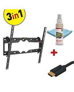 "Kit Suport TV Plat/Curbat de perete Barkan 29""-65"" + solutie curatare 100 ml + Cablu HDMI 10.2 Gbps, 1.8m"