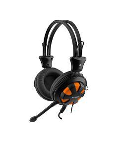Casti A4Tech HS-28-3, microfon pe fir, control volum pe casca, portocaliu