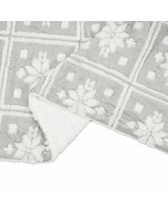Patura fleece Gri Stars cu blanita 150x200 cm Material : 100% Poliester