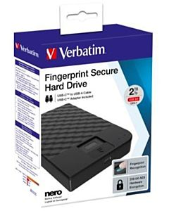 VERBATIM FINGERPRINT SECURE HDD 2TB AES 256 ENCRYPTION USB 3.1 GEN 1 (2.5'')
