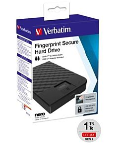 VERBATIM FINGERPRINT SECURE HDD 1TB AES 256 ENCRYPTION USB 3.1 GEN 1 (2.5'')