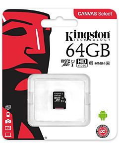 MicroSDXC Kingston, 64GB, Clasa 10 UHS-I, fara adaptor SD