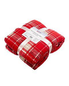 Patura fleece cu blanita Rosie cu carouri 150x200 cm Material : 100% Poliester Colar Fleece