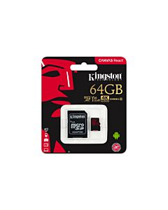 Card de memorie Micro SDXC Kingston, 64GB, CLASS 10 UHS-I, R/W 100/80 MB/s, adaptor SD