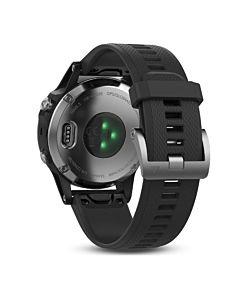 Ceas smartwatch Garmin Fenix 5, HR, GPS, Silver, Silicone Black