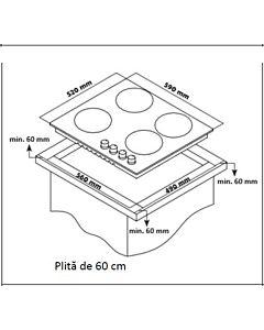Plita incorporabila Heinner HBH-S584I-IX, Gaz, 4 Arzatoare, Aprindere electrica, Inox