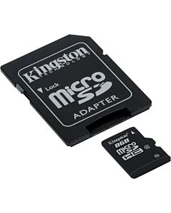 Card de memorie Kingston MicroSDHC, 8GB, Class 4 + Adaptor