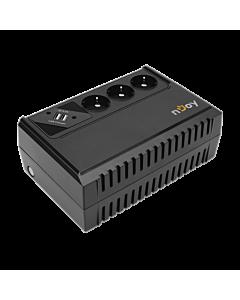 UPS nJoy Renton 650 USB, 650VA/360W, 3 Prize Schuko cu protectie, 2 x USB charger (5V, 2.4A)