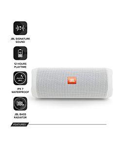 Boxa portabila JBL Charge 4 JBLFLIP4W, Bluetooth, Waterproof, Powerbank, Bass Radiator, alb