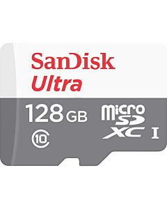 Micro Secure Digital Card SanDisk, Ultra, 128GB, Clasa 10, Reading speed: 80MB/s, fara adaptor SD, Alb/Gri (pentru telefon)