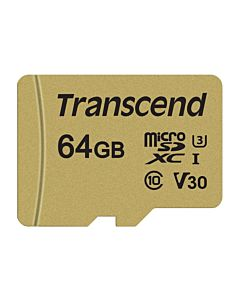 Memory card Transcend microSDXC USD500S 64GB CL10 UHS-I U3 Up to 95MB/S +adapter