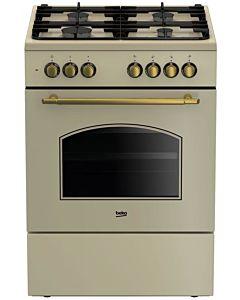 Aragaz Beko FSE62134DCR, Mixt, 4 arzatoare gaz, Aprindere electrica, Dispozitiv de siguranta plita, Grill, Cuptor electric, 6 functii de gatire, Gratare fonta, Timer, 60 cm, Bej