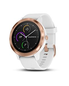 Smartwatch Garmin Vivoactive 3, Rose Gold, White Silicone Band