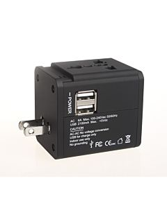 Adaptor priza universal Serioux, 2.1A, 2 porturi USB, Black