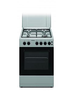 Aragaz Heinner HFSC-S50LITG-SL, Gaz, 4 arzatoare, Dispozitiv de siguranta plita si cuptor, Plita cu aprindere electrica, Timer, Grill, Sertar inferior pentru vase, 50 cm, Argintiu